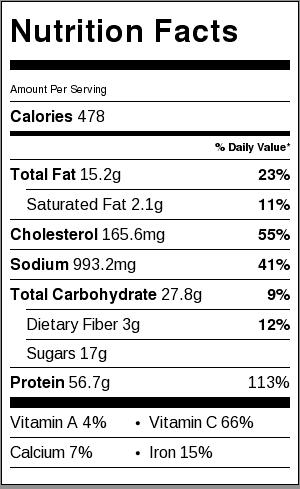 orange chicken nutrition facts