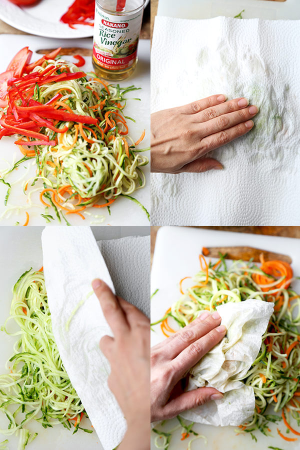 Cold Ramen Zoodles - This is a noodle-free take on the classic Japanese hiyashi chuka dish. Light and low in calories, these chilled cold ramen zoodles made with zucchini, carrots and cucumber, are tangy, cleansing and incredibly refreshing! Recipe, healthy, salad, easy, spiralized, zoodles | pickledplum.com