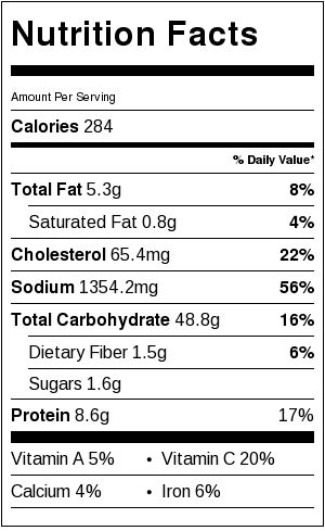 Drunken Noodles Nutrition Facts