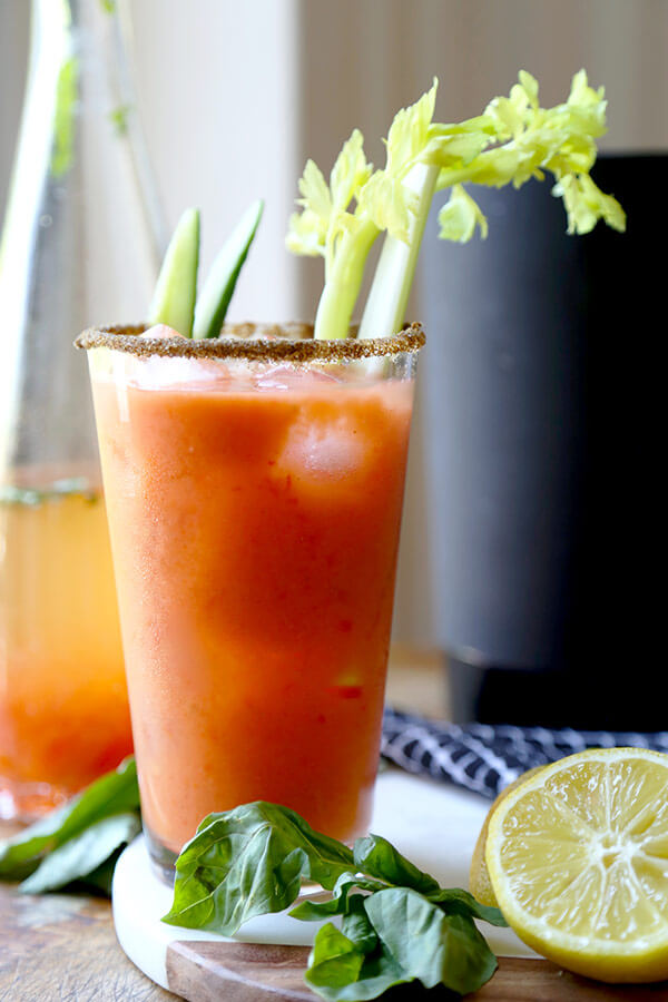 Gazpacho Bloody Mary - A fresh and zesty Gazpacho Bloody Mary Recipe that will have you sipping on the best ingredients the garden has to offer! Recipe, vegan, drinks, cocktail, gluten free | pickledplum.com