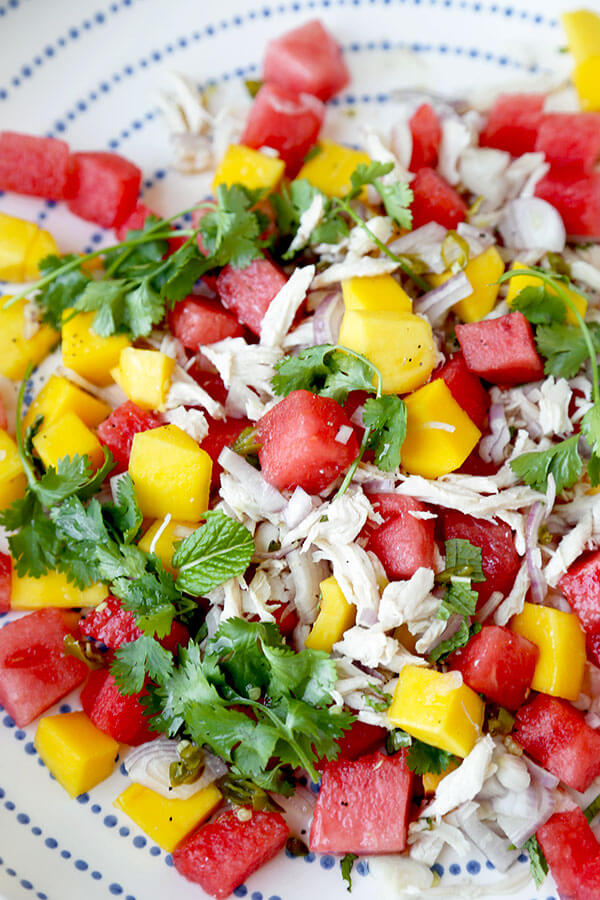 Mango And Watermelon Chicken Salad - This summery and bright Mango and Watermelon Chicken Salad Recipe mixes the best of in-season fruit with the deep, soulful flavors of Thailand! Ready in 30 minutes. Recipe, chicken, salad, healthy, side, appetizer, Thai food | pickledplum.com