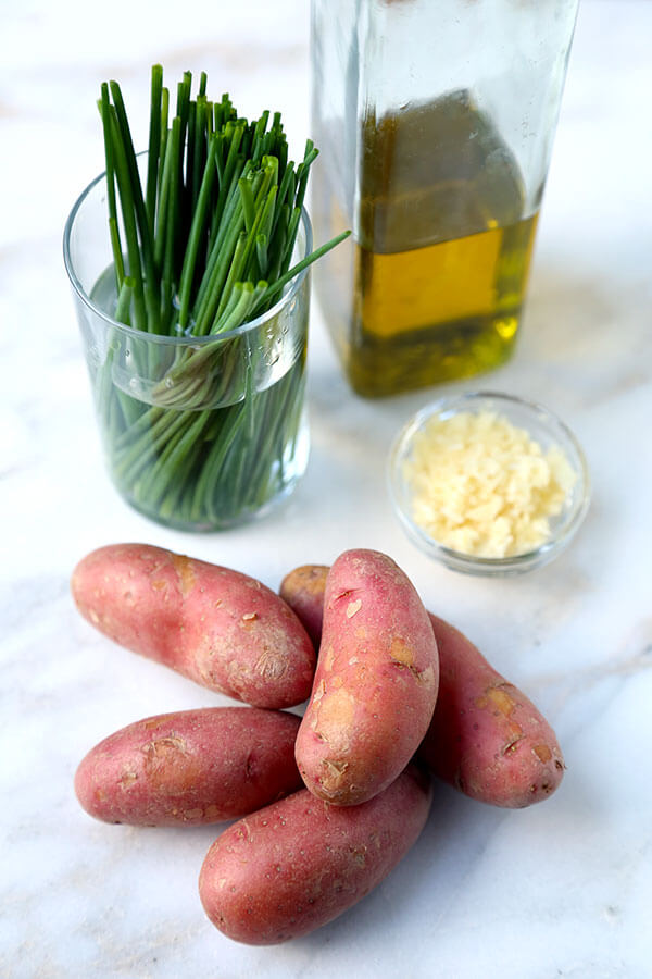 Smashed Red Potatoes With Garlic and Chives - Pickled Plum Food And ...