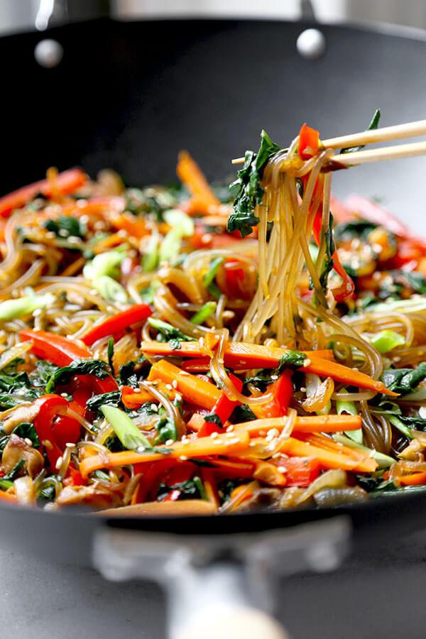 Japchae Recipe (Korean Glass Noodles)