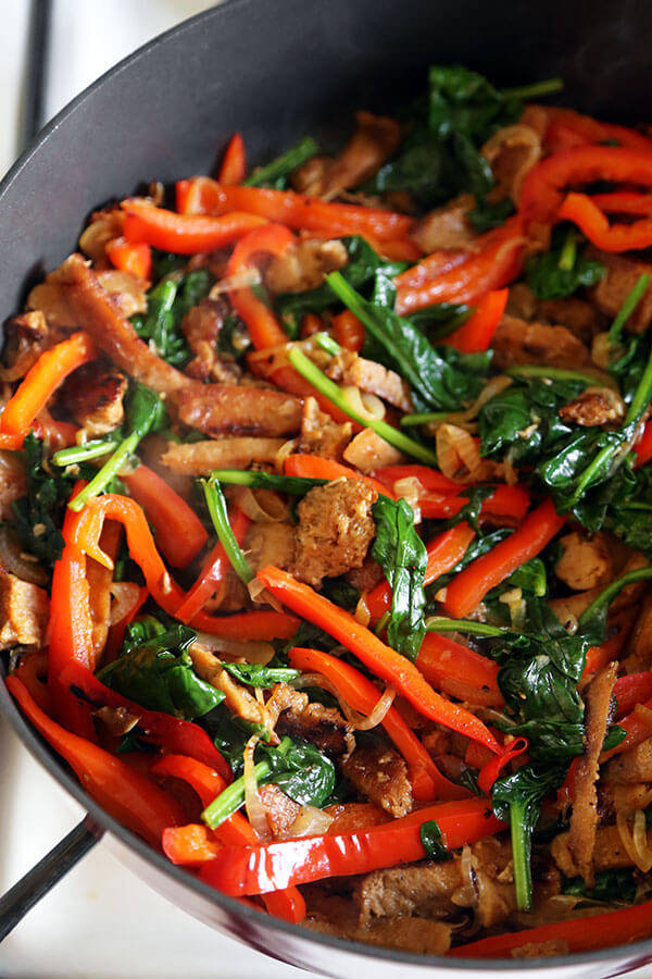 Seitan and Vegetable Stir Fry - You won't miss the meat in this savory, smoky and protein loaded Seitan and Vegetable Stir Fry Recipe. Healthy, delicious and on the table in 20 minutes! Recipe, healthy, stir fry, Chinese, meatless, main | pickledplum.com