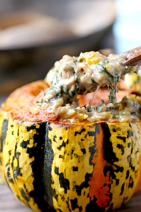 Baked Acorn Squash This With Baby Kale And Mushroom Sauce Is So