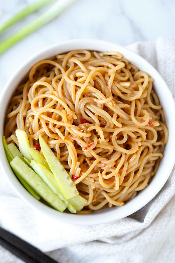 chilled sesame noodles recipe - pickled plum food and drinks