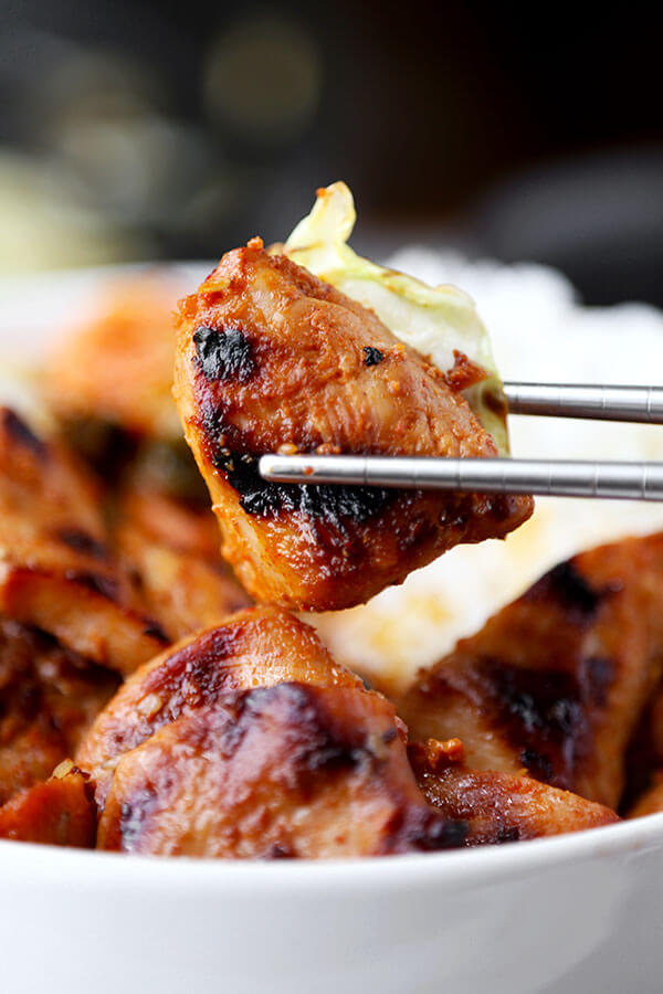 Chicken Bulgogi With Cabbage - Bring authentic Korean barbecue flavors to your home with this easy and very delicious chicken bulgogi with cabbage recipe! Recipe, Korean, barbecue, main, chicken | pickledplum.com