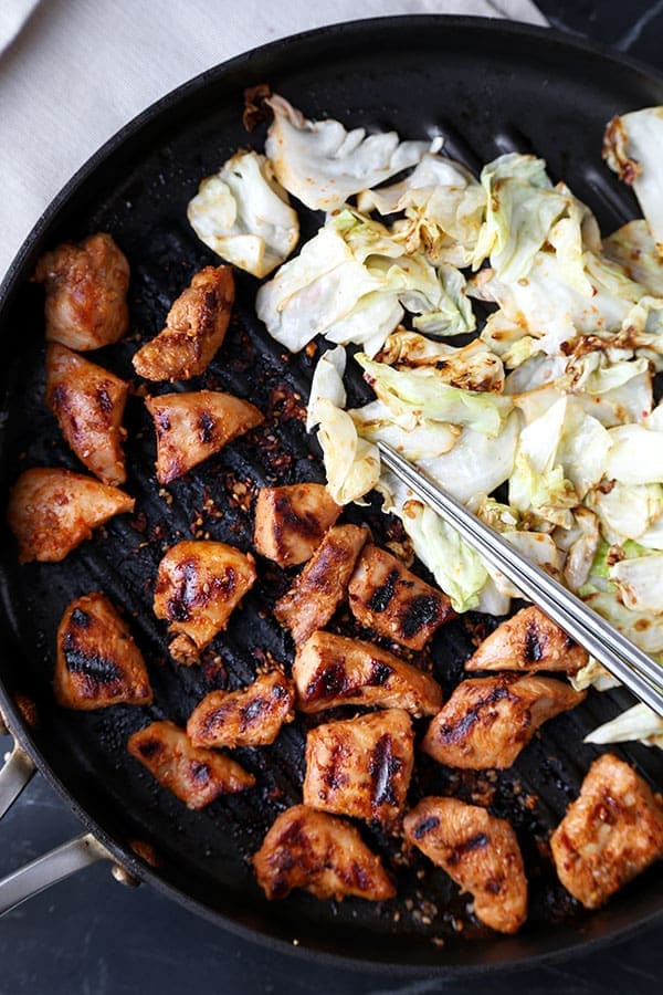 Chicken Bulgogi With Cabbage - Bring authentic Korean barbecue flavors to your home with this easy and very delicious chicken bulgogi with cabbage recipe! Recipe, Korean, barbecue, main, chicken   pickledplum.com
