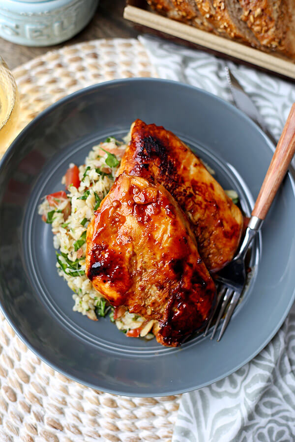 Balsamic Chicken - Wow! This balsamic chicken recipe yields the most tender and juicy breasts glazed with a sweet and acidic sauce. All you need are 7 ingredients, 2 hours to marinate and 15 minutes to cook. Recipe, healthy chicken recipes, chicken dinners, easy dinner recipes, fancy recipes, top recipes from food experts | pickledplum.com