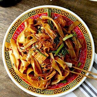 Tofu Chow Fun With Watercress