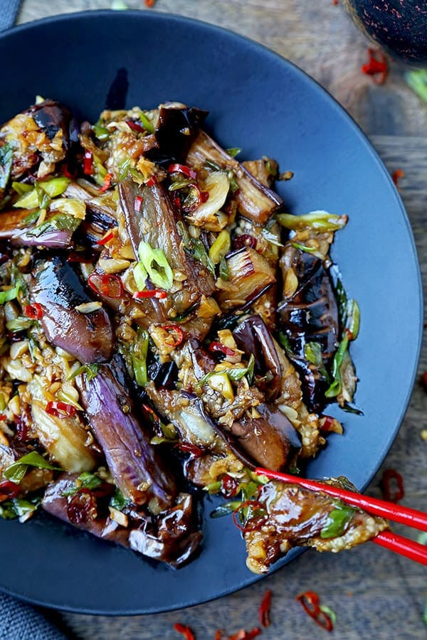 Chinese Eggplant With Garlic Sauce - This is a quick and easy dish that's sweet, tangy with a little heat. The eggplant pieces are so tender, they almost melt in your mouth. Ready in 15 minutes from start to finish. Chinese stir fry recipe, Asian vegan recipe, vegan eggplant recipe, vegetable stir fry recipe, Chinese dinner recipes   pickledplum.com