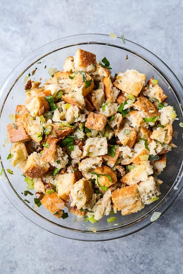 Vegan stuffing - This vegan stuffing is healthy, savory, nutty and packed with freshly chopped herbs. plant based recipes, vegan thanksgiving recipes, healthy vegetarian recipes, vegan christmas recipes, easy stuffing recipes, Thanksgiving dinner recipes   pickledplum.com