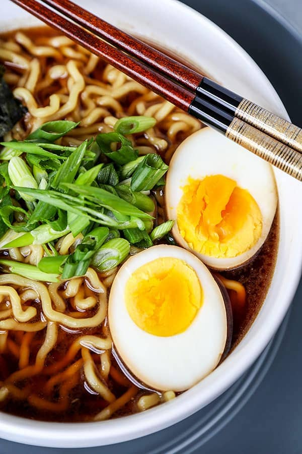 Ramen Egg - Make your homemade ramen egg recipe with soy sauce - 味付け玉子. These little parcels of umami egginess are delicious on their own too! #quickrecipe #ramen #japanesefood #eggs | pickledplum.com