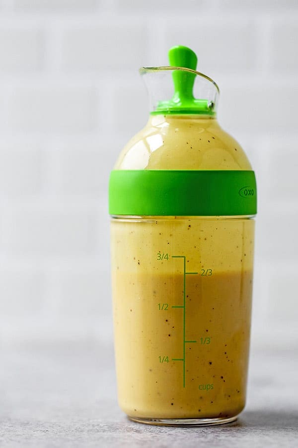 Lightened Up Homemade Honey Mustard Dressing - Most store bought honey mustard dressings contain a minimum of 15 ingredients. This homemade recipe only needs 5! It's fresh, low in fat and actually good for you! Ready in 5 minutes from start to finish. #healthyrecipes #healthyliving #recipeoftheday #salads