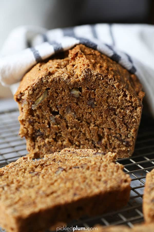 Healthy Banana Bread Recipe (Vegan) - This is a no sugar, no egg, totally dairy free and easy and plant based banana bread that's moist and just sweet enough to fix a sugar craving! #bananabread #plantbaseddiet #healthyeating #healthyrecipes | pickledplum.com