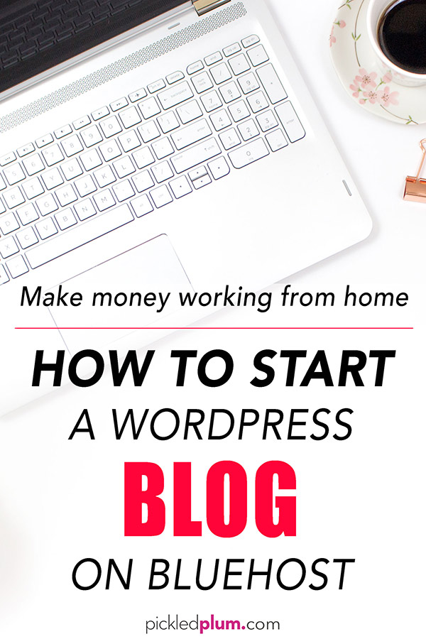 How To Start a WordPress Blog on Bluehost From Scratch - Thinking about starting a blog and making money online working from home? Everyone can make money blogging - I made $127,000 last year with my online business, writing about things I love! Because of my blog, I can travel around the globe and make passive income. Blogging allows me to have my own schedule and spend more time with the people I love. You too can blog about food, fashion, mom stuff, travel, photography, business or just for fun! You can blog on a budget as you will see, you only need $2.95 per month to get started! This is a quick and easy step by step tutorial on how to create an account with Bluehost, pick a blog name (domain), start a blog with WordPress with a one click install, choose a theme and how to use the WordPress dashboard. The entire set up only takes 10 minutes! Plus, I've added extra tips and ideas To help you turn your blog into a successful one. #blogging #howtostartablog #startablog #makeextramoney #workfromhome #howtowordpresstutorial | pickledplum.com