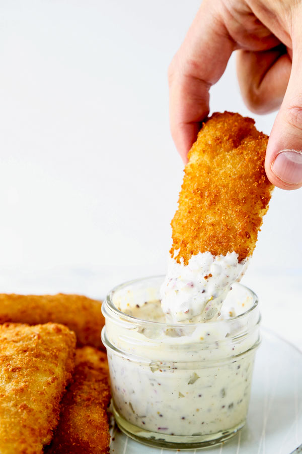 Tartar sauce japanese and traditional american versions for What kind of fish does long john silver s use