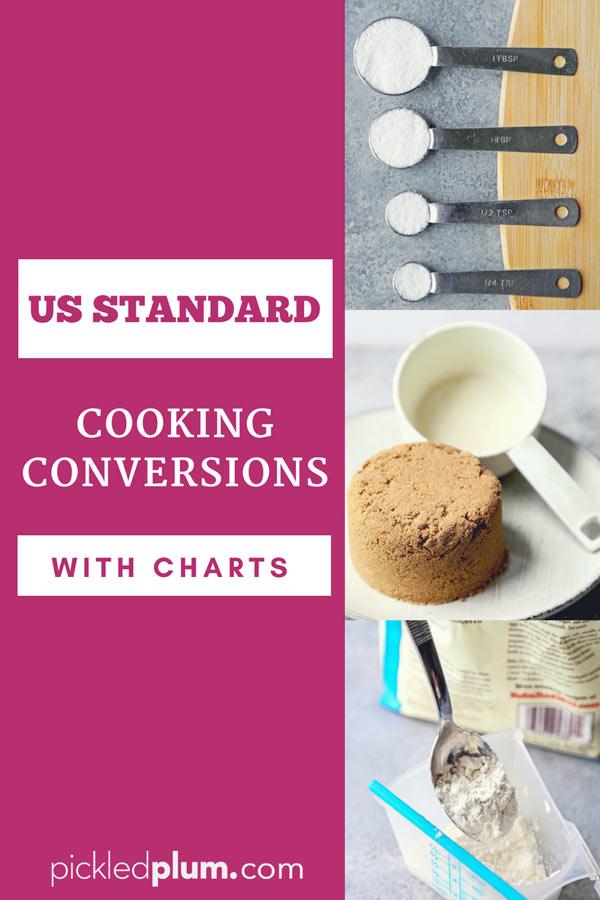 US standard cooking conversions with charts - American standard conversion charts for both dry and liquid measurements. #cooking #recipes #baking #conversionchart | pickledplum.com