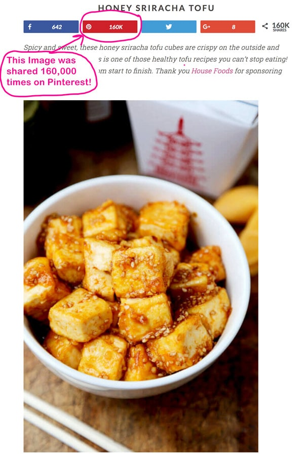 Honey Sriracha Tofu Recipe - Shared over 160,000 times on Pinterest! I doubled my traffic by using Tailwind. In this post I explained all the benefits bloggers get from using a program like Tailwind (for just $9.99 a month!)